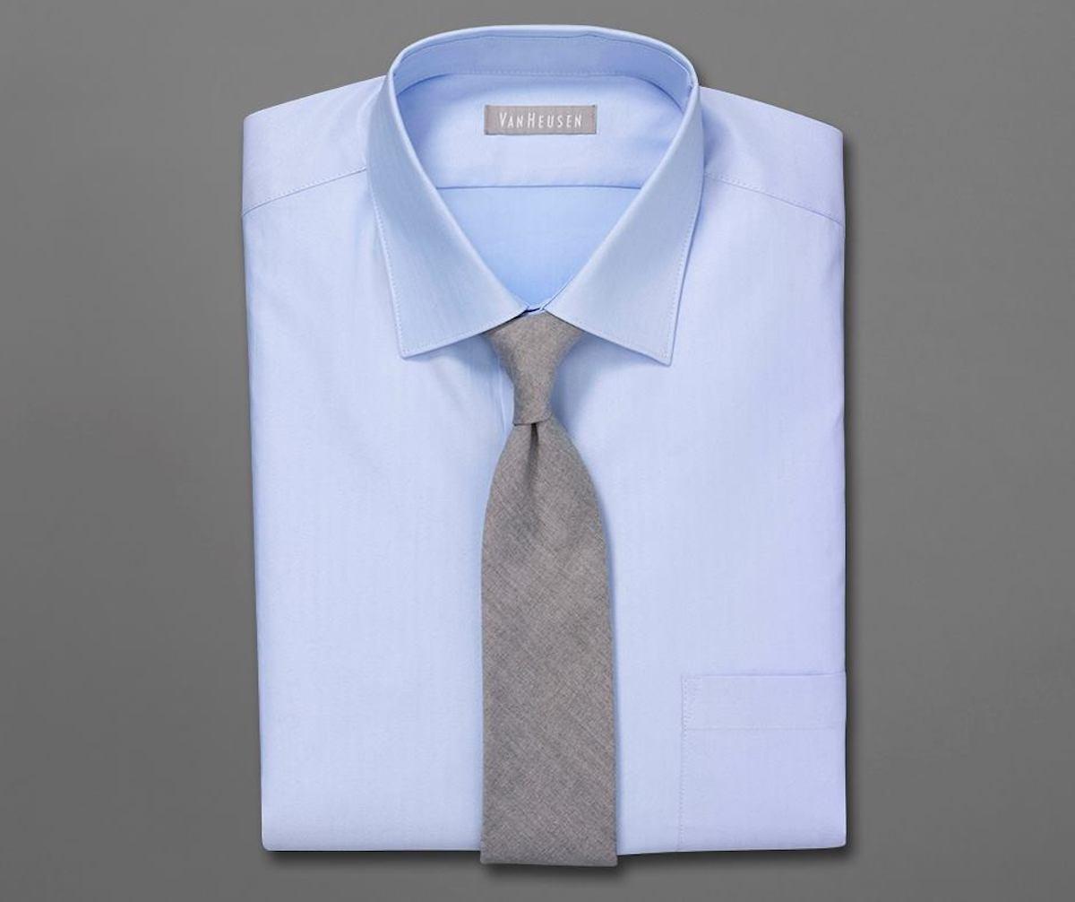 mans blue van heusen dress shirt with grey tie