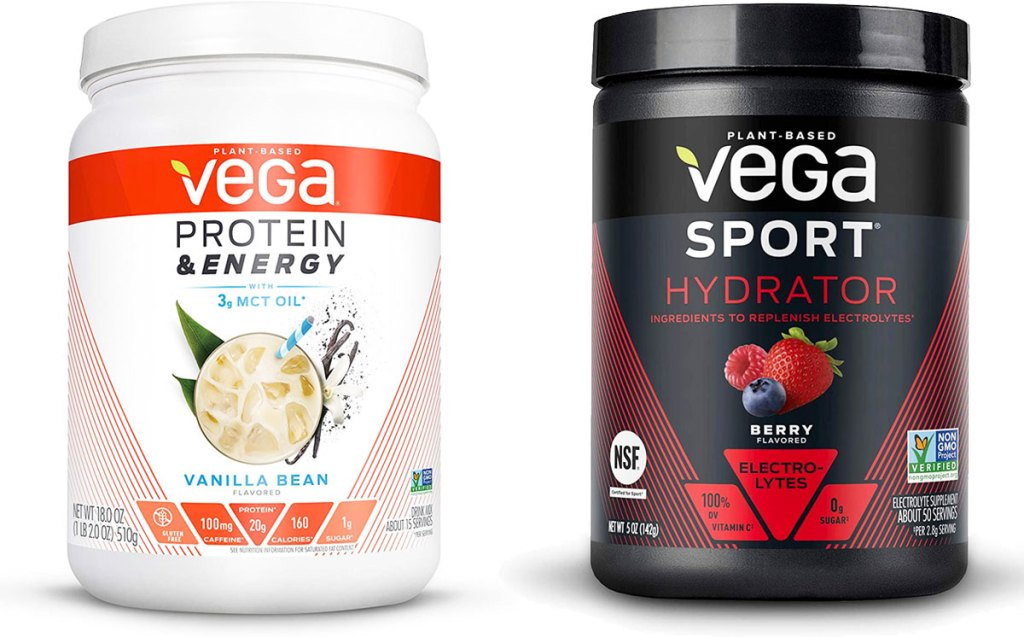 white container of vega vanilla protein powder and black container of vega sport hydration powder