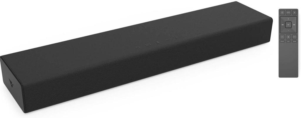 black soundbar with remote