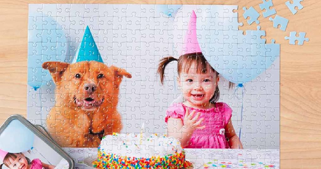 Walgreens photo puzzle with birthday girl and dog