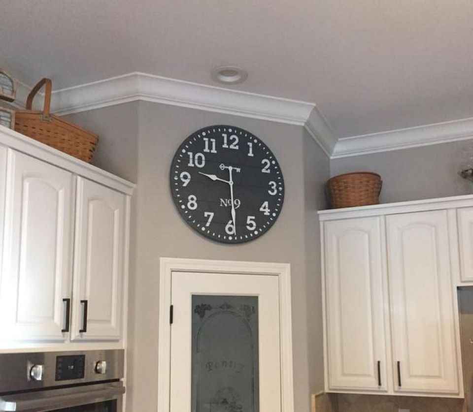 clock above a pantry door