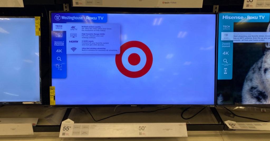 television on shelf