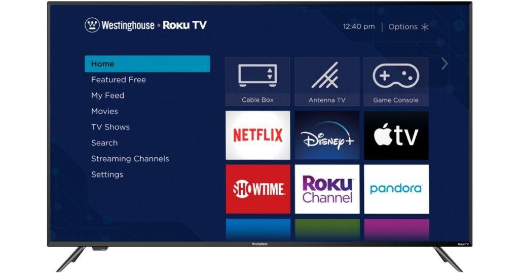 "Westinghouse 65"" Roku TV with home screen"