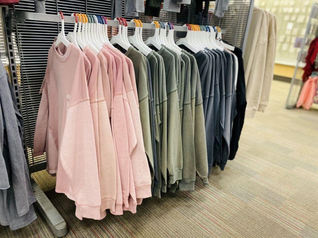shirts on hangers at Target