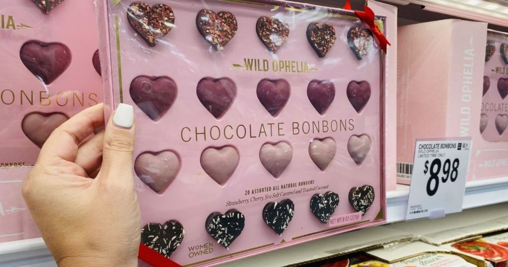 hand holding a package of Wild Ophelia Chocolate Bonbons