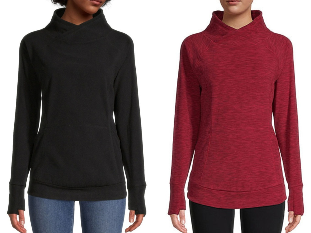 2 women standing next to each other wearing funnel neck tunic