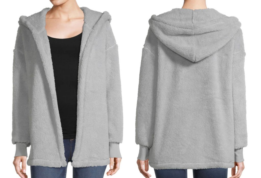 front and back view of a grey sherpa cardigan
