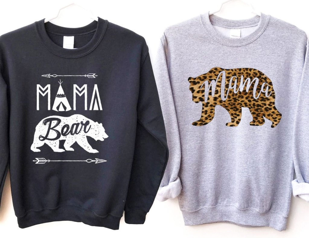 dark grey and light grey sweatshirts with mama bear text on them