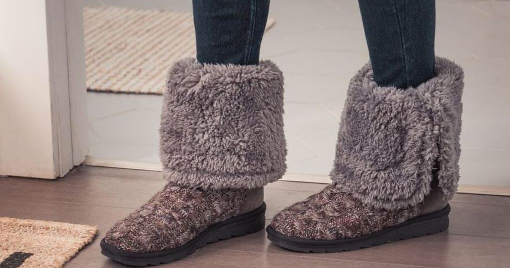 woman wearing furry boots