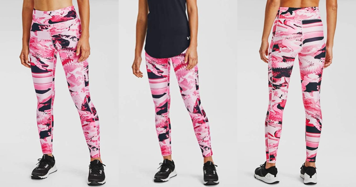 three views of pink and black women's under armour leggings. front and back. three images of women wearing them