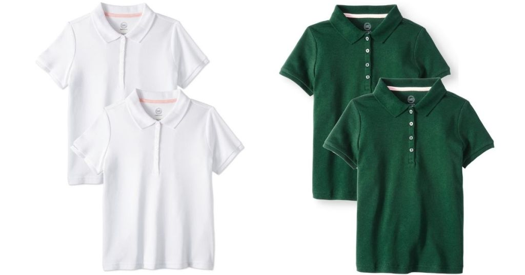 Wonder Nation School Uniform Polo 2-Pack in white and green