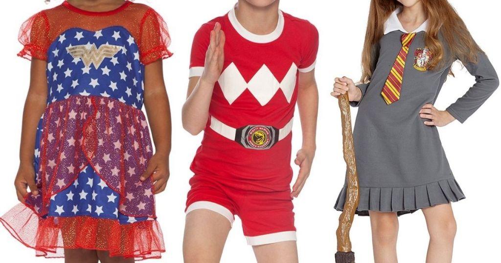 kids wearing Wonder Woman, Power Rangers and Harry Potter Pajamas