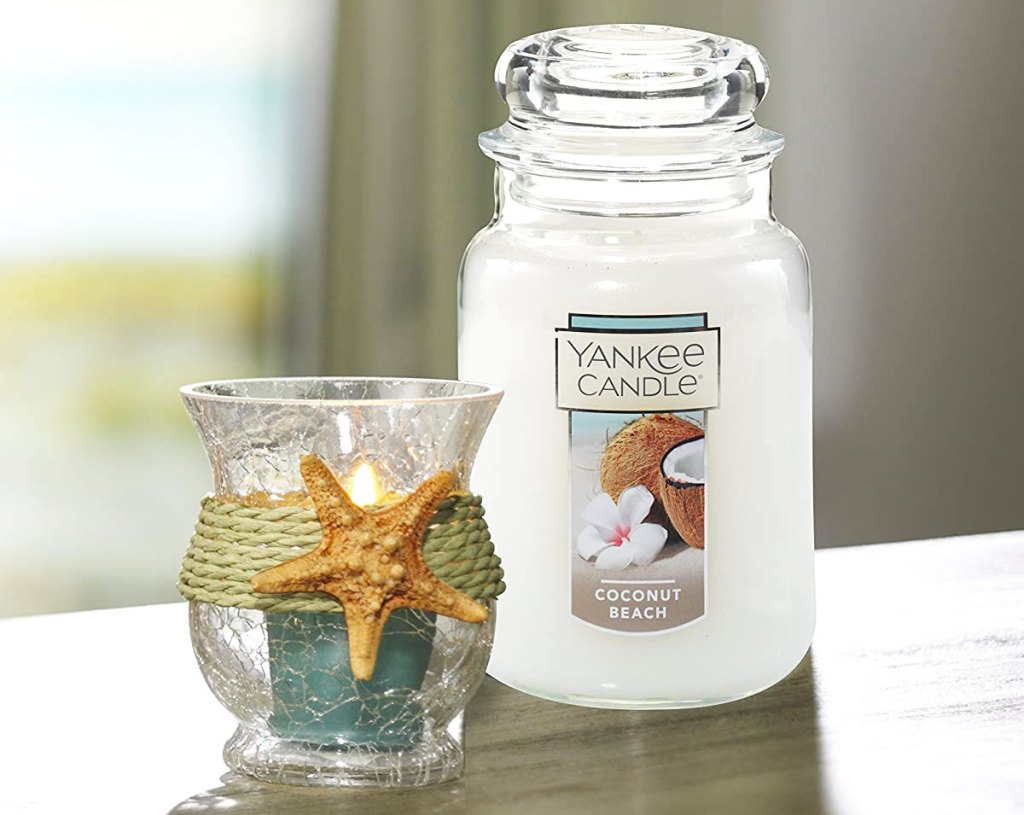 large white yankee candle in coconut beach scent