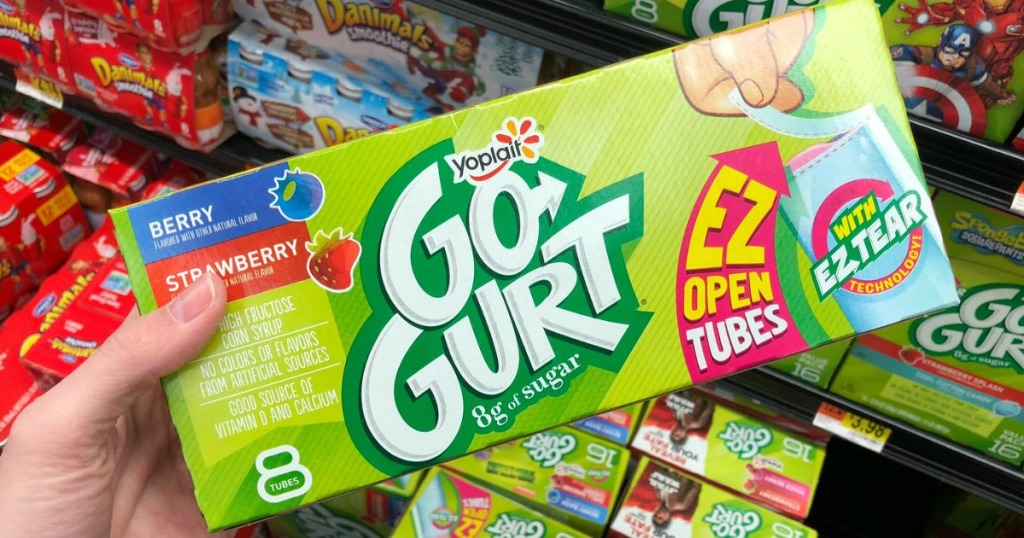 hand holding Yoplait GoGurts pack in store