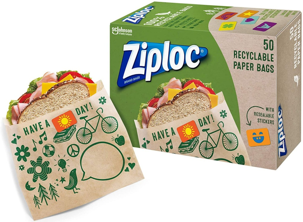 Package of Ziploc paper lunch bags