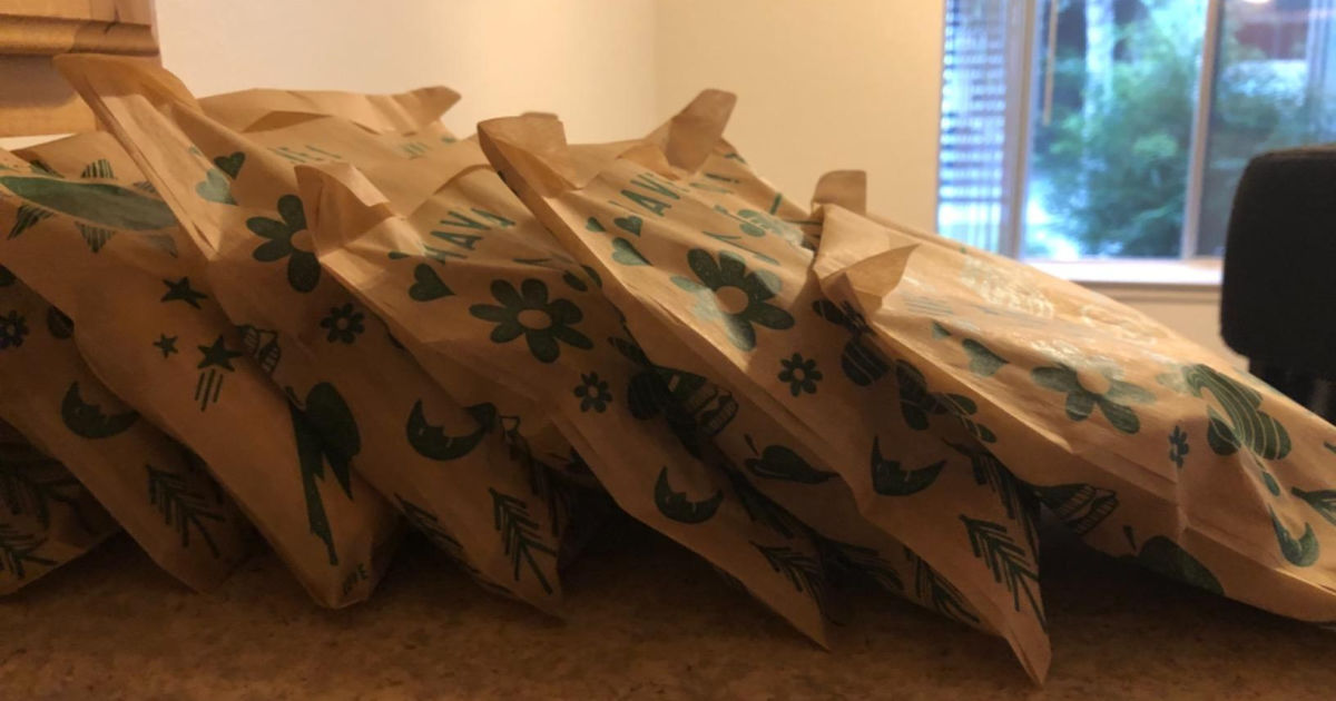 Large stack of paper sandwich bags
