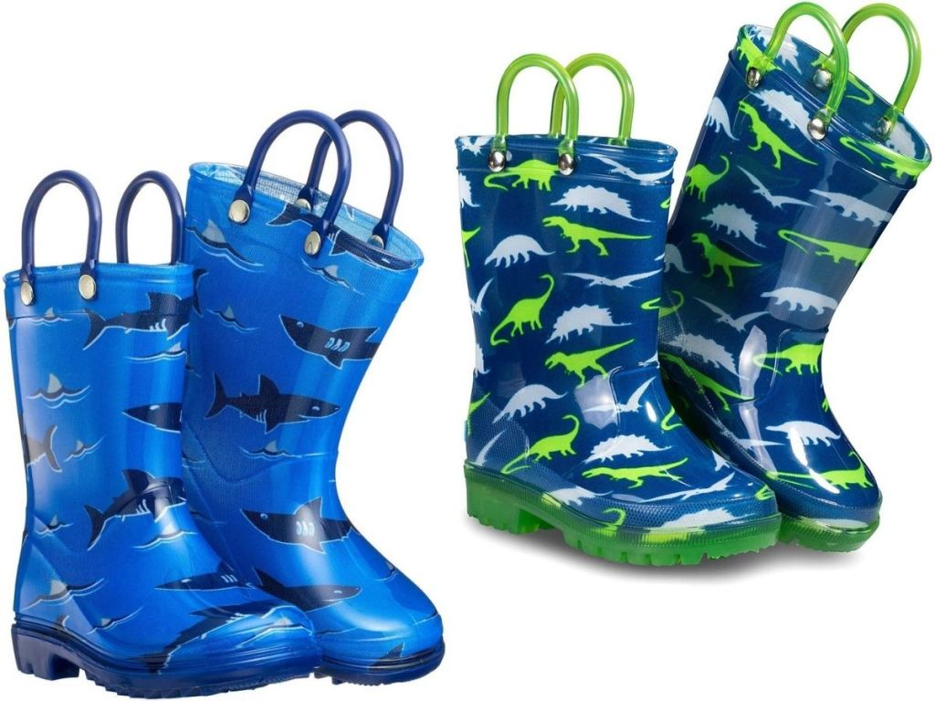 Two pairs of Kids Zoog Rain Boots