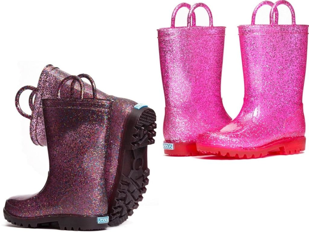 two pairs of Girl's Zoog Rain Boots