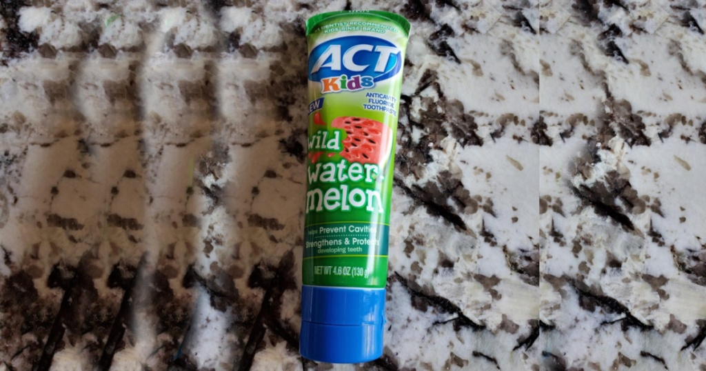 act kids wild watermelon toothpaste on counter