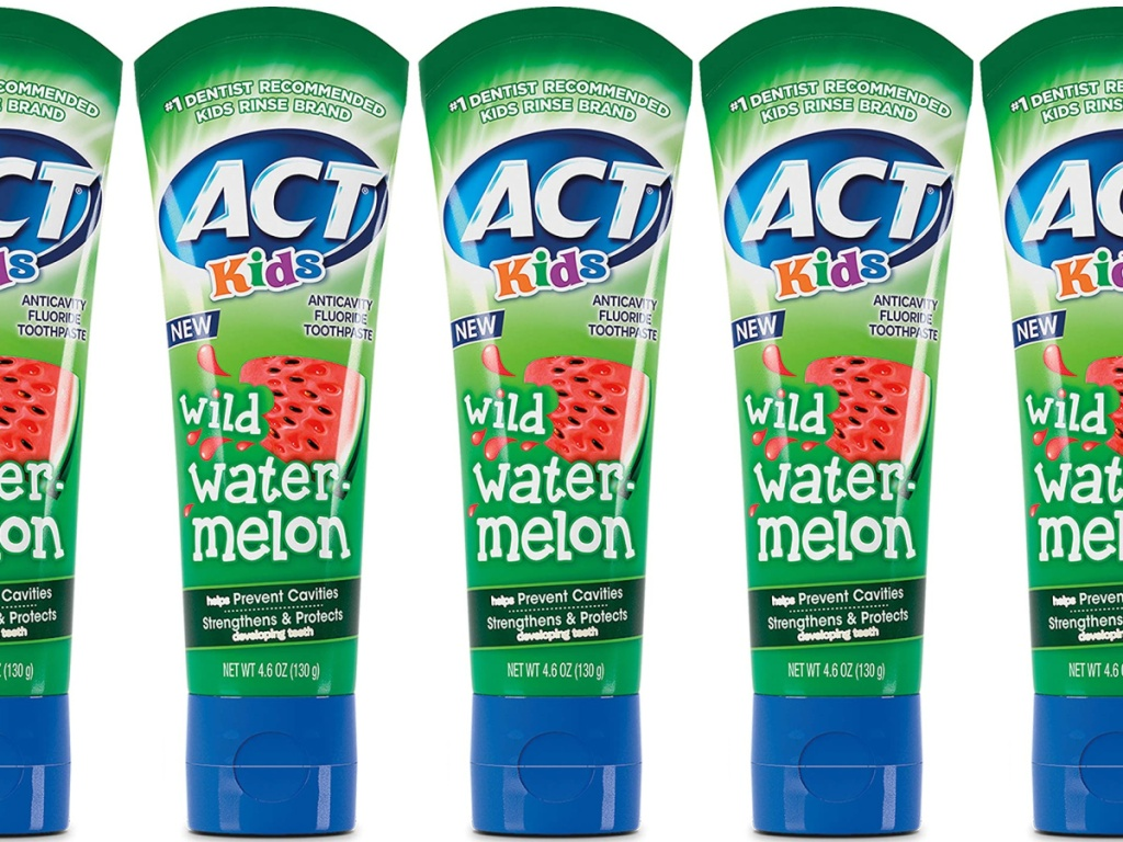 multiple tubes of act kids toothpaste