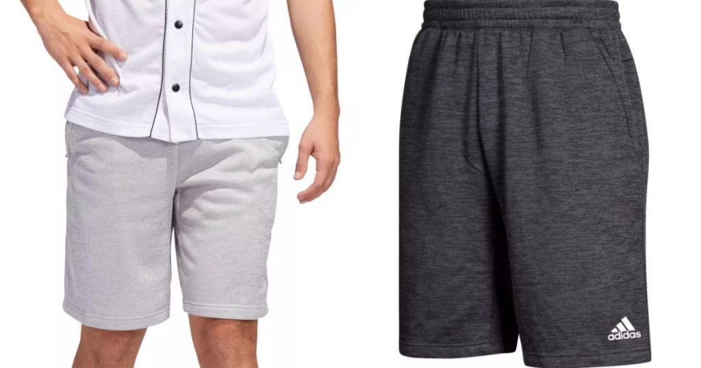 light gray and dark blue adidas shorts