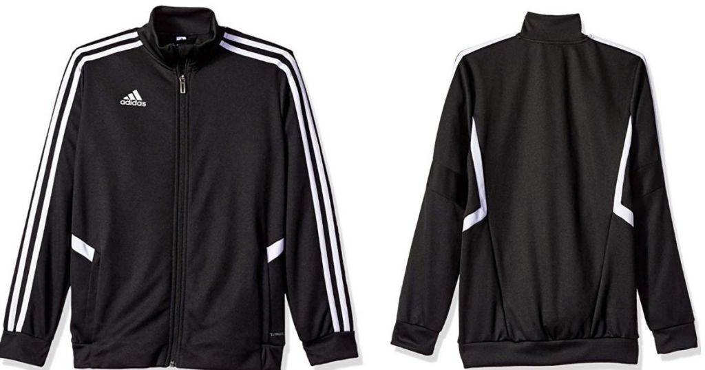 front and back view of adidas boys zip up jacket