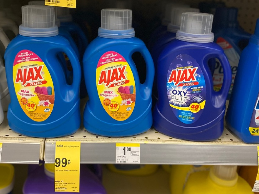 laundry detergent on shelf in store