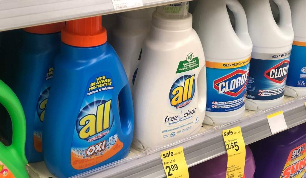 all detergent varieties on shelf at store