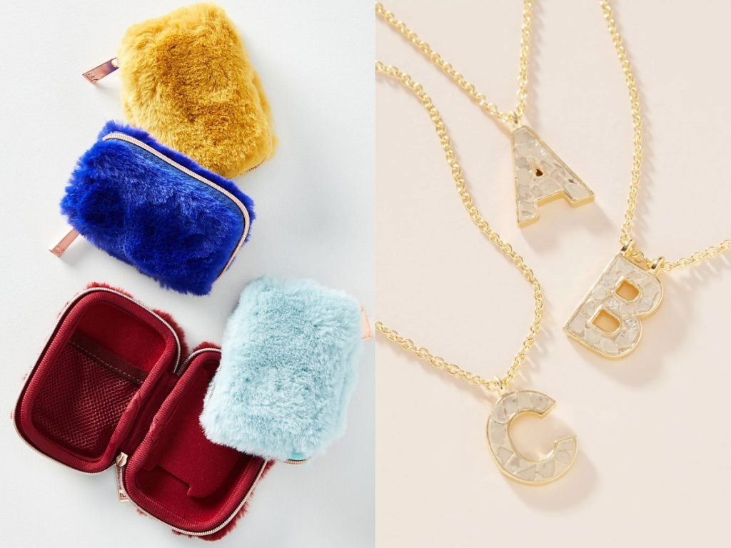 anthro faux fur earbud case and necklaces