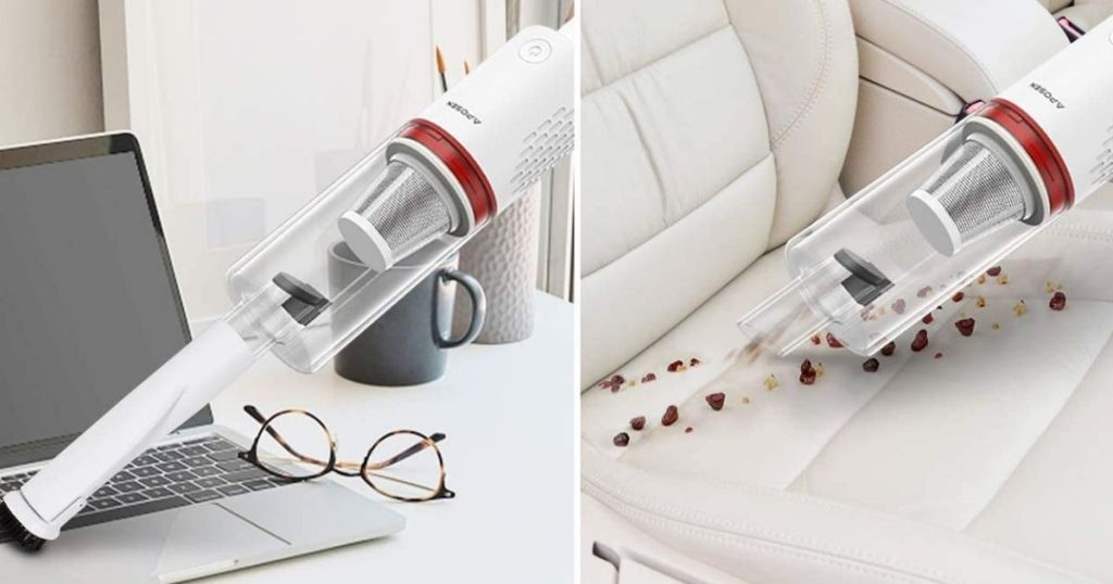 handheld vacuum cleaning laptop and car seat