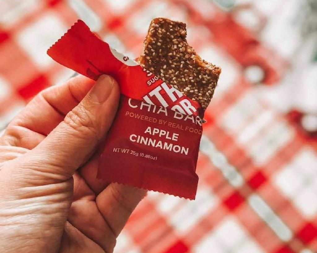 apple chia bar open and bitten