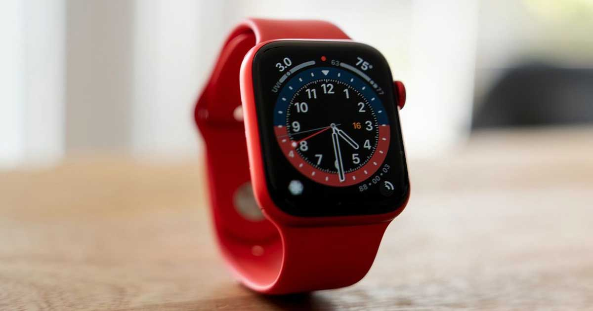 red apple watch on counter
