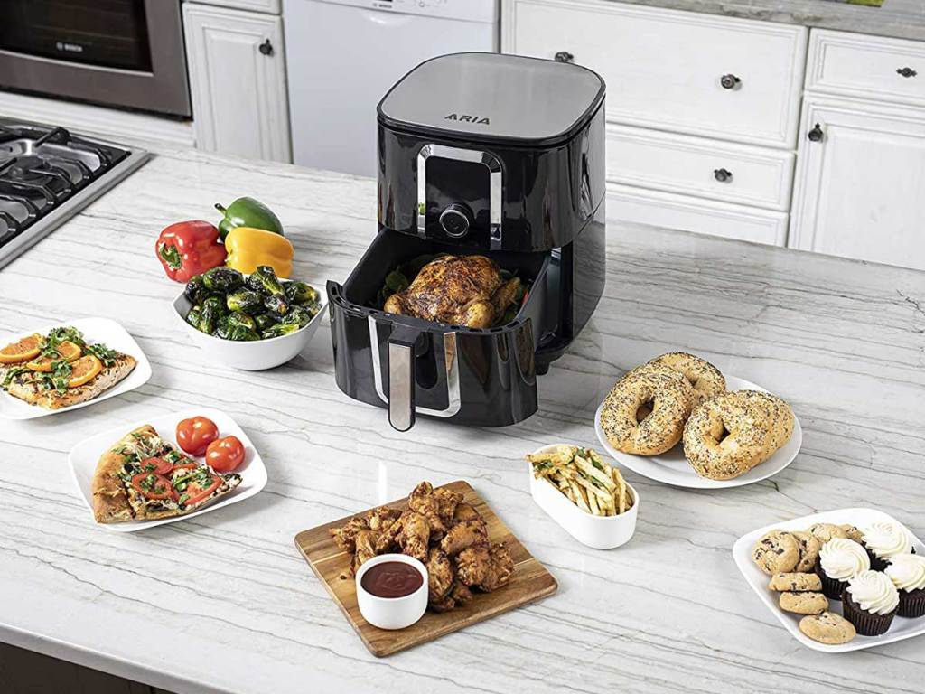 air fryer on counter with food prepped