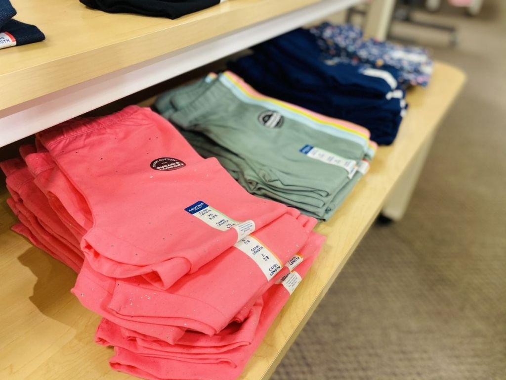 girls Arizona leggings on display in store