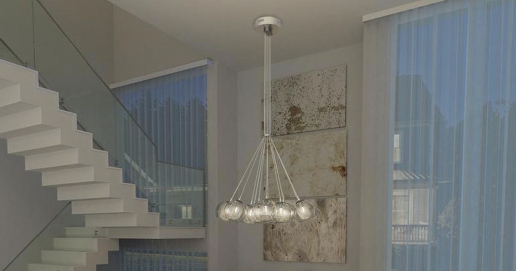artika mood chandelier hanging from ceiling