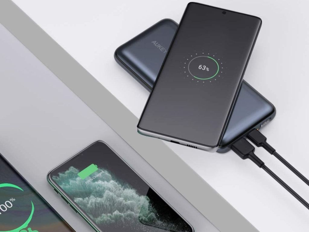 phone resting on charger