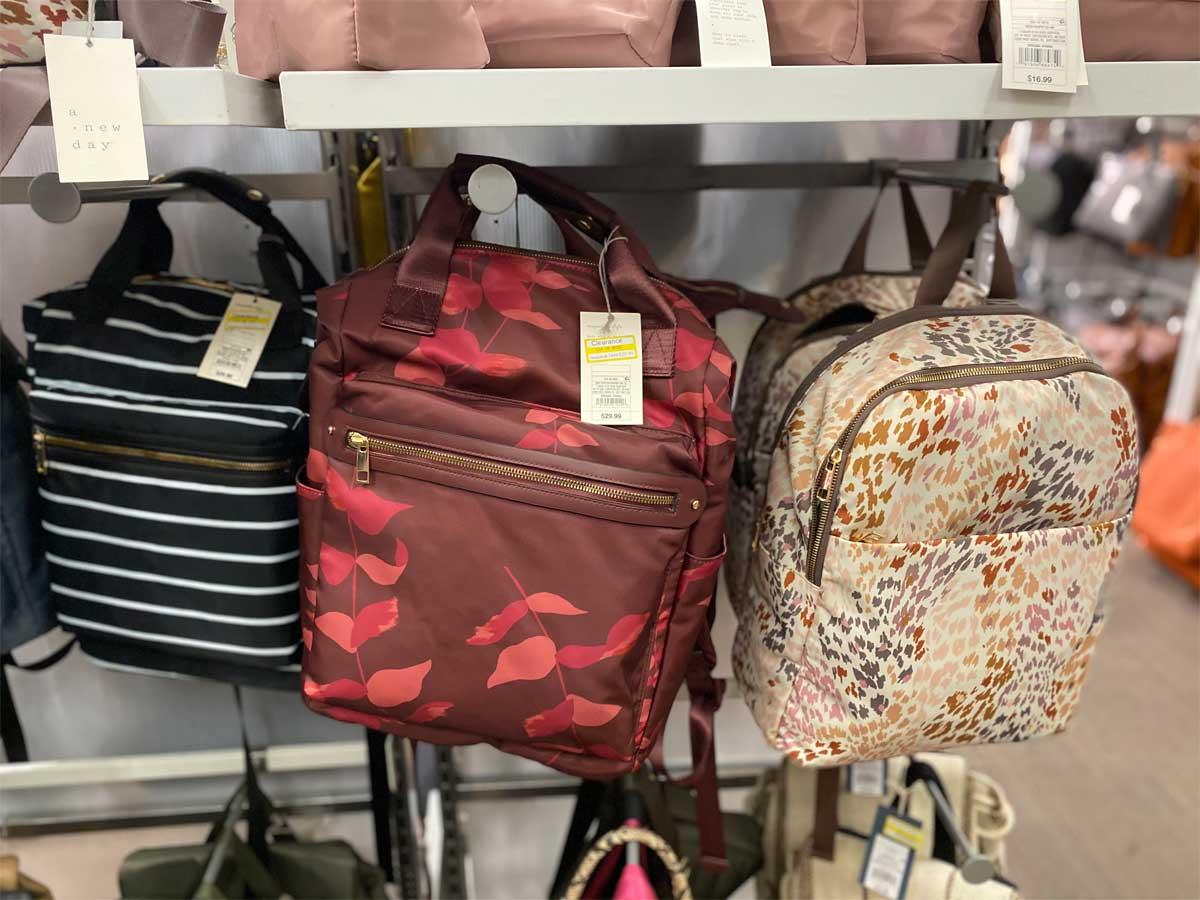 backpacks on display in store