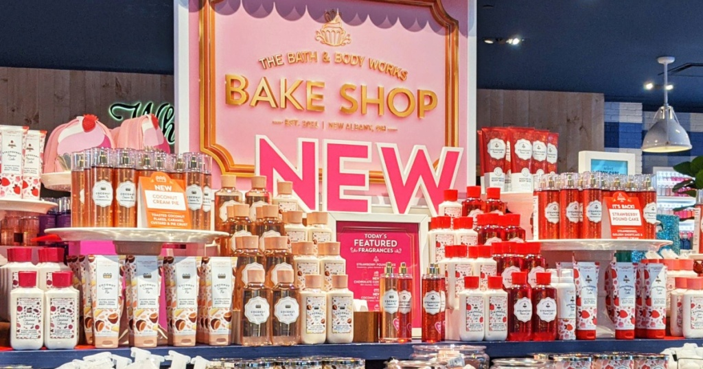 Display of Bath and body Works bake shop collection