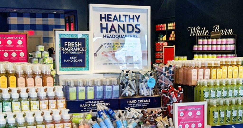 Display of Bath and body Works hand soaops
