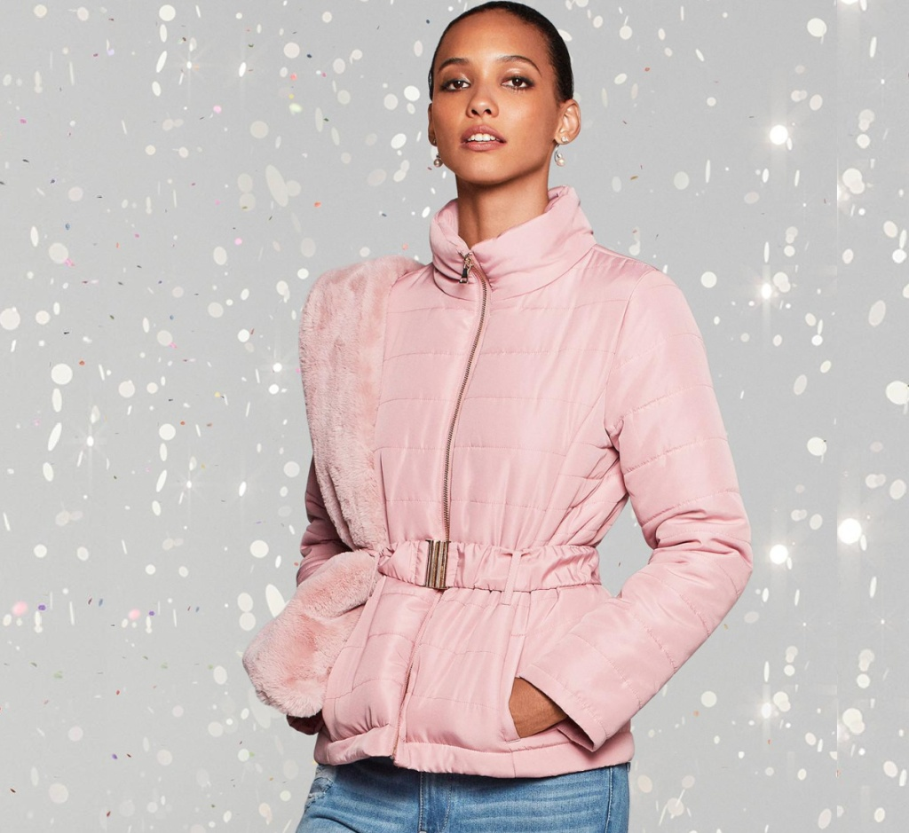 pink belted puffer jacket