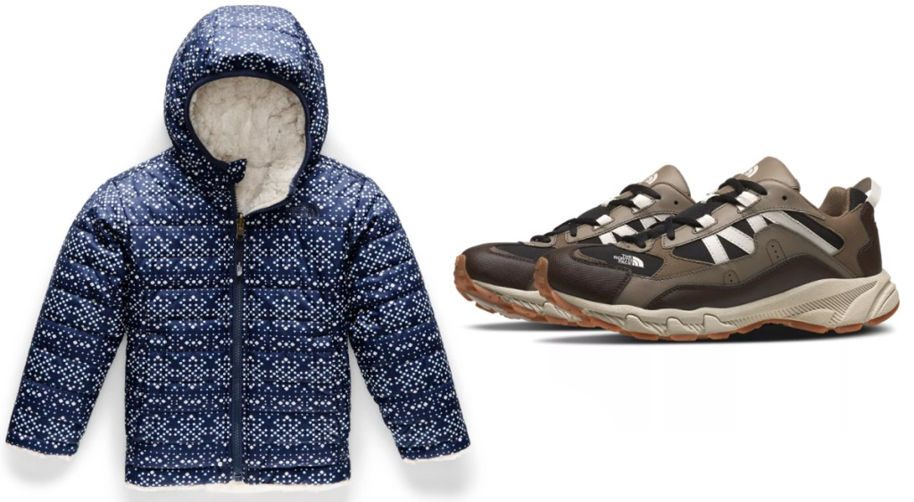blue The North Face toddler jacket and men's hiking shoes