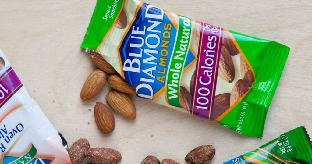 blue diamond almonds whole natural 100-calorie pack