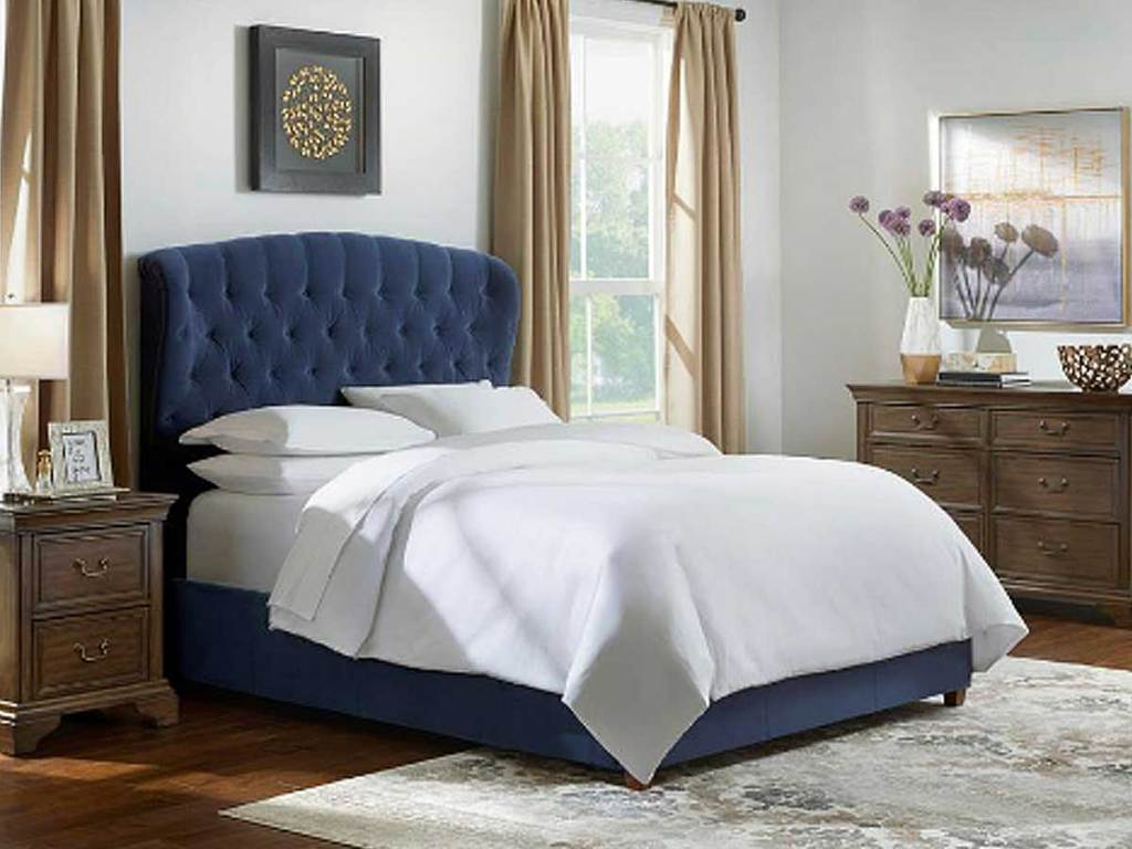 Cecilia Queen Tufted Wingback Midnight Blue Bed