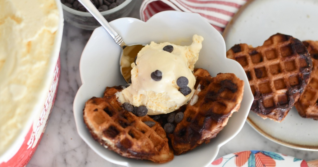 bowl with heart shaped cookie waffles and ice cream