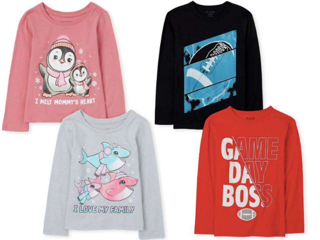 girls and boys 2 pack long sleeve tees