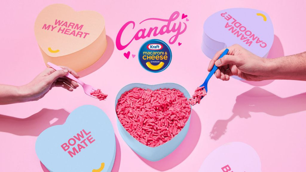 pink macaroni & cheese in heart-shaped bowl