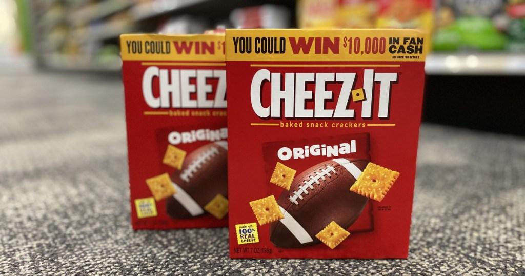 cheez it crackers fan cash boxes on store floor