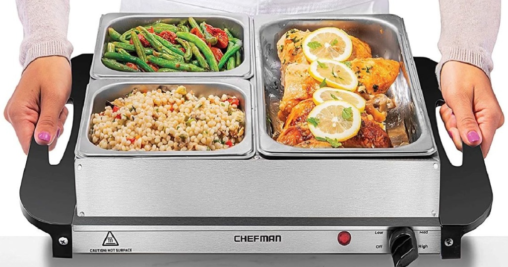 two hands holding chefman server and warming tray