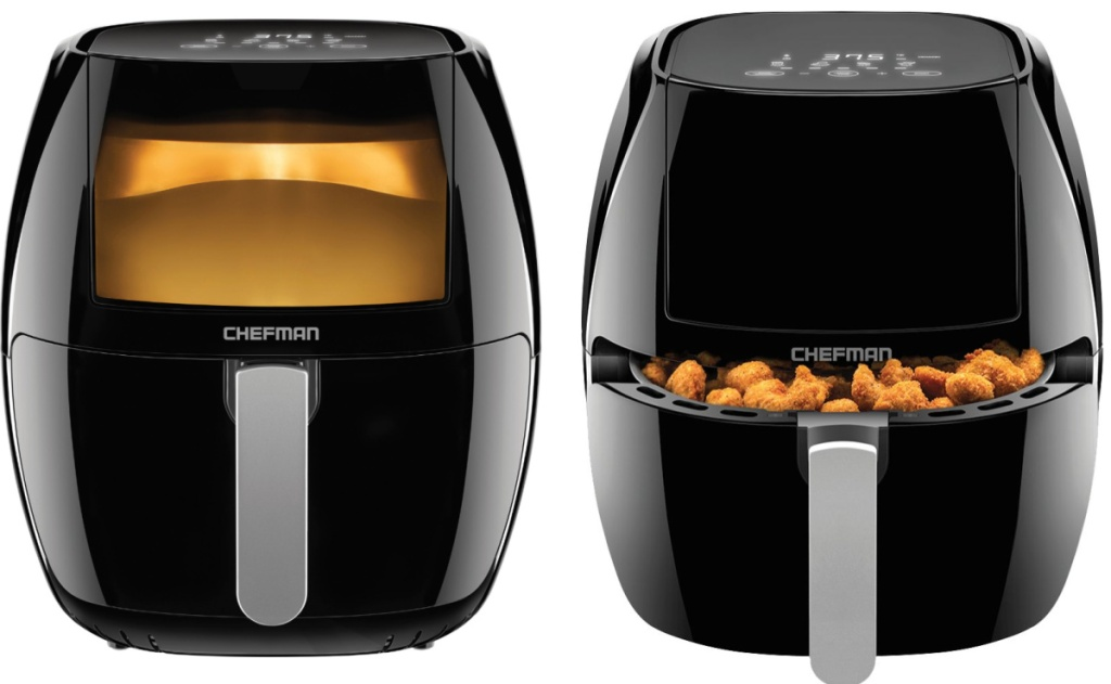 chefman turbo air fryer two viewing angles one with basket open