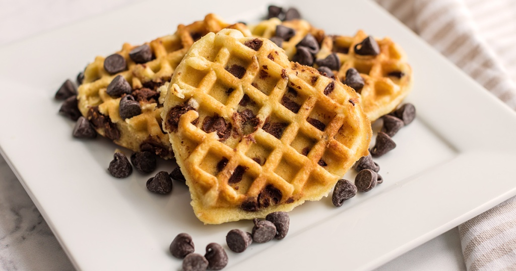plate of chocolate chip cookie waffles with chocolate chips